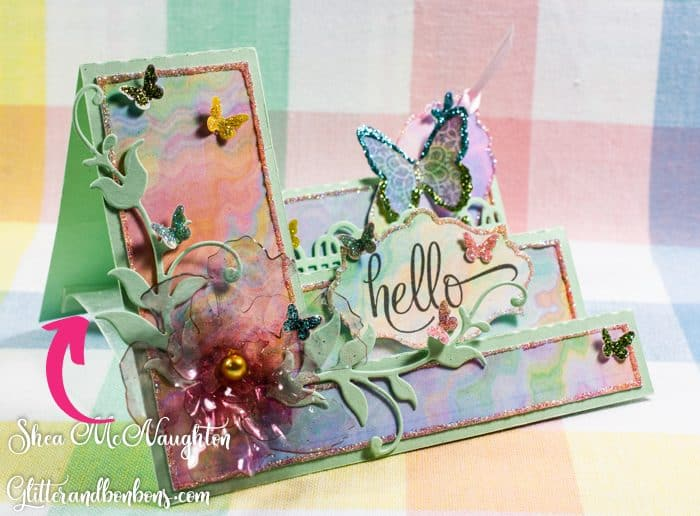 Angled view of just-because card showing ribbon stabilizer