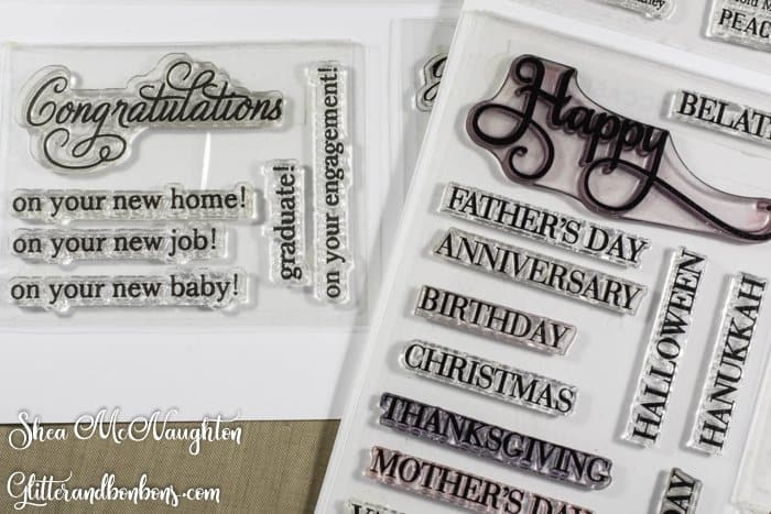 "Favorite word stamps: ""Happy"" and ""Congratulations"" with various occasions to be added"