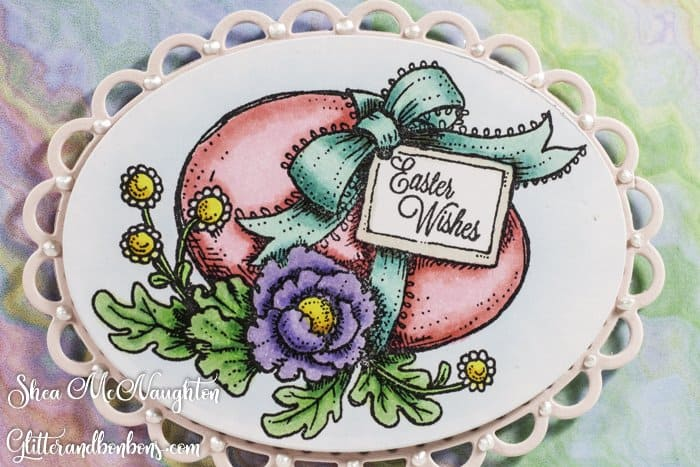 Close up of Marcella Hawley's Vintage Easter Egg stamp, colored with Copics