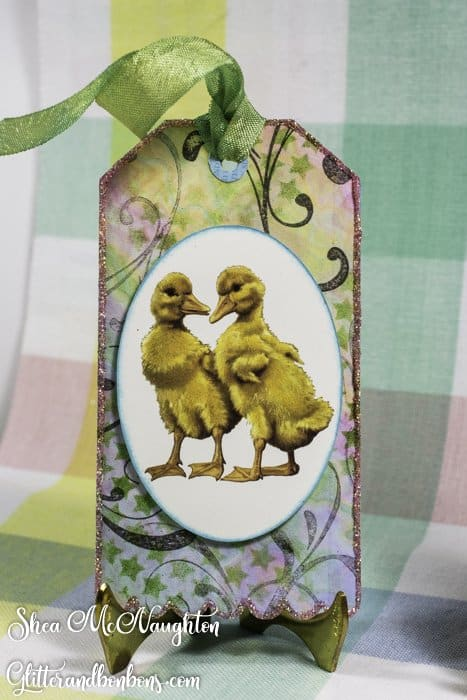 Tag art using cute ducklings as the main image in front of pretty designer paper