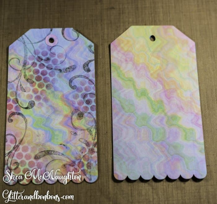 Front of the tags showing stamps and stencils