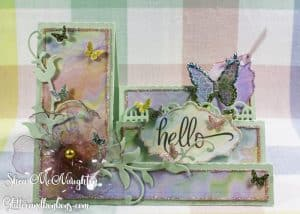 """Front view of colorful, side step """"just because"""" card"""