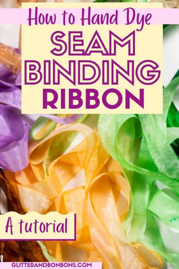 Pinterest cover of hand dyed ribbon tutorial