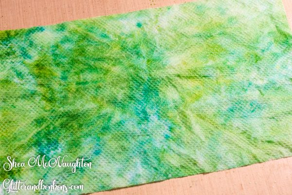 Paper towel saturated with ink