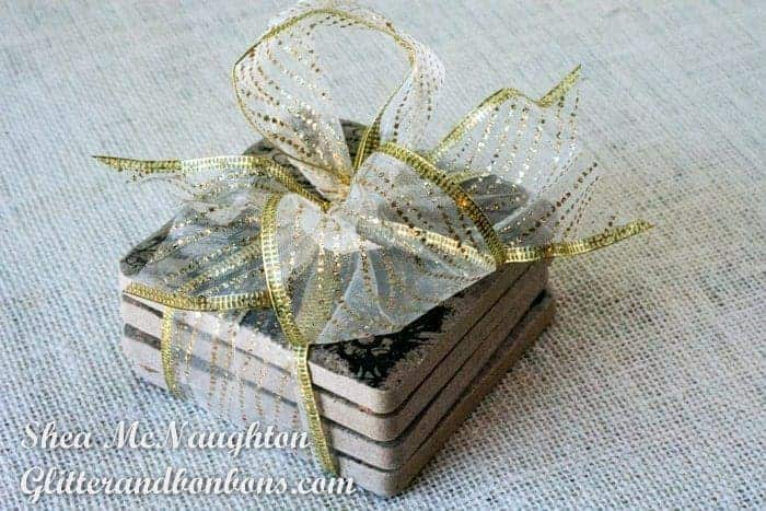 Coasters wrapped with a pretty bow
