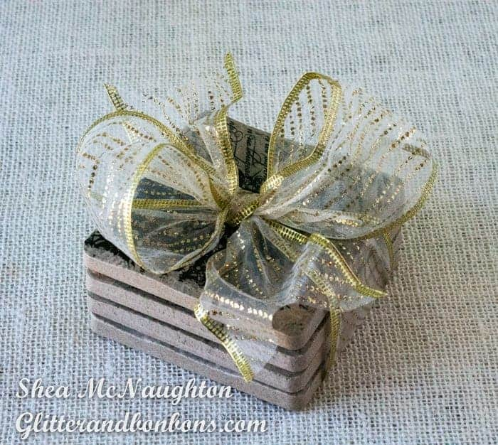 Stack of stamped tile coasters