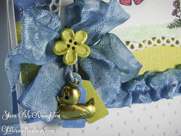 A messy bow made with hand dyed seam binding