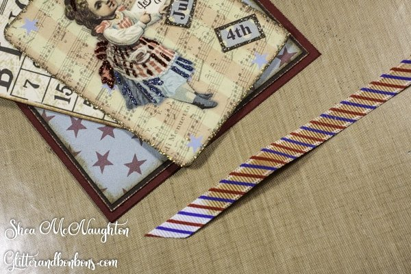 The patriotic ribbon after inking