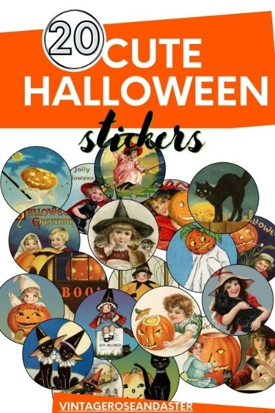 Pinterest cover showing 20 printable vintage Halloween stickers