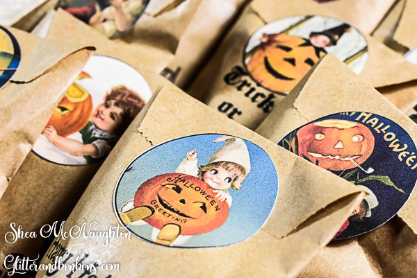 Close up of Halloween treat bag with printable Halloween sticker closing it