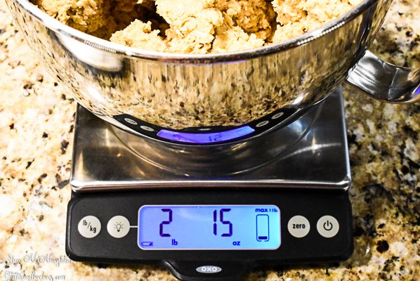 Weighing the full amount of oatmeal cookie dough