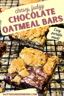 Pin cover for fudgy oatmeal cookie bars