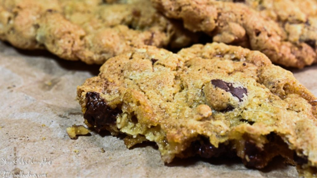 Bitten nutty chocolate chip oatmeal cookie