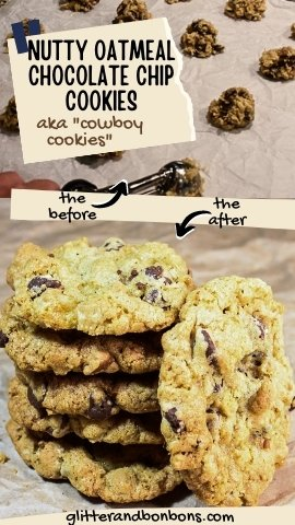 Pinterest cover for nutty oatmeal chocolate chip cookies